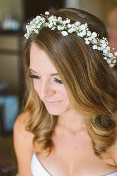 Babies breath bridal crown |sevenstemsdesign.com| Flower crown for the bridesmaids as well~