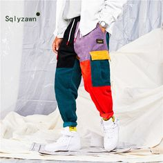 Special Price for Pants Color Block Patchwork Corduroy Cargo Harem Pants Streetwear Cotton Trousers Harajuku Jogger Sweatpant If You want to. Cargo Pants Outfit, Baggy Pants, Corduroy Pants, Trousers, Harem Pants, Men Pants, Casual Pants, Baggy Clothes, Pantalon Streetwear