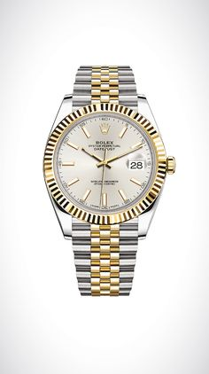 Rolex Datejust 41 in yellow Rolesor - a combination of 18ct yellow gold and 904L steel, with a fluted bezel, silver dial and Jubilee bracelet.