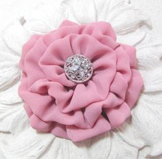 Mauve Flower Brooch. Georgette Fabric Pin and Hair Clip.  on Etsy