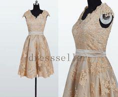 Knee Length Champagne Lace Applique Wedding Dress by dressseller, $141.00