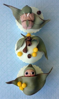 May Gibbs gum nut babies - cupcakes Fondant Cupcakes, Fondant Toppers, Cute Cupcakes, Cupcake Cakes, Cupcake Shops, Wedding Cupcakes, Birthday Cupcakes, Mini Cakes, Cup Cakes