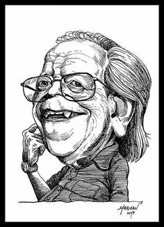 Caricatura de Washington Benavides (1930- 2017) Q. E. P. D. (plumín y tinta china)