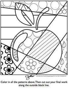 APPLE Pop Art Interactive Coloring Sheet - Basteln in der Grundschule Apple Coloring Pages, Colouring Pages, Coloring Sheets, Coloring Books, Free Coloring, Adult Coloring, Mandala Coloring, Classe D'art, Apple Pop