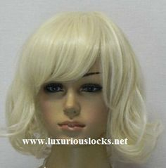 Marilyn // Platinum Chin Length Blonde White Wig Short Synthetic Hair on Etsy, $50.00