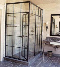 modern interior design photography factory window shower Modern Home - Design DCA Eclectic Bathroom, Industrial Bathroom, Modern Bathroom, Slate Bathroom, Basement Bathroom, Industrial Apartment, Masculine Bathroom, Craftsman Bathroom, Loft Bathroom