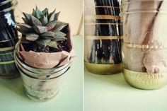 Gold Stripe Mason Jar DIY // Lauren Elise Crafted