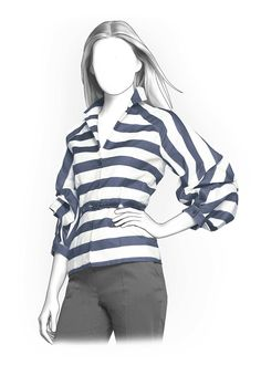 Striped Blouse - Sewing Pattern #4121. Made-to-measure sewing pattern from Lekala with free online download.