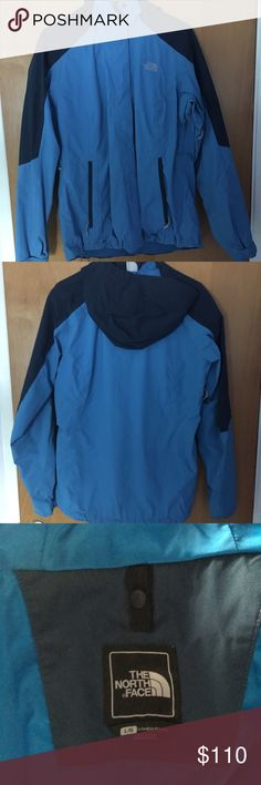 North Face Jacket Two tone blue/dark blue North face Jacket. Hardly worn. Purchased for ski trip and used for literally 4 days. Willing to trade for similar jacket in different color! North Face Jackets & Coats