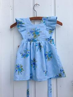 Floral Blue Pinafore Dress by NooksDesign on Etsy