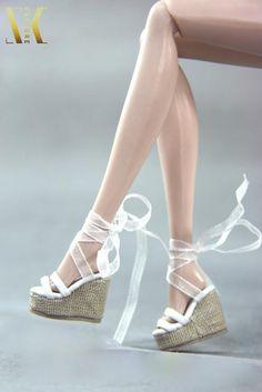 """Selena Wedge Sandals (White) Fits 12""""/Barbie/FR/Momoko/Etc"""