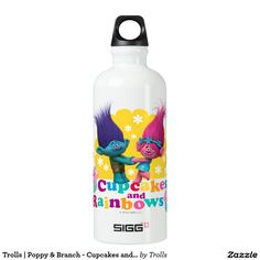 Trolls | Poppy & Branch - Cupcakes and Rainbows. Regalos, Gifts. #bottle #botella