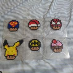 Mario mushrooms perler beads by theinfamousbigd