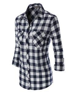 bdd67ed02a8 LE3NO Womens Lightweight Plaid Button Down Shirt with Pockets Plaid Shirt  Women