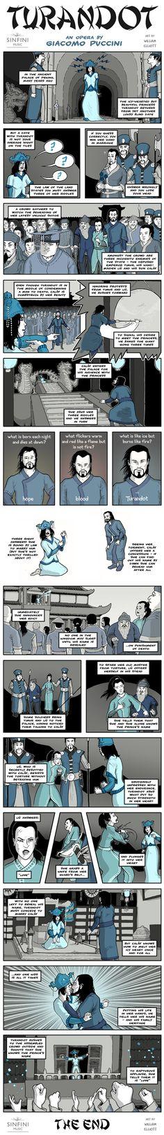 Turandot: An Opera by Giacomo Puccini. Opera Comic Strip Art by William Elliott #operaexplained