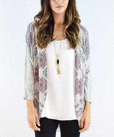 Loving this Gray Shimmer Geometric Cardigan on #zulily! #zulilyfinds