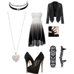 White & Black by birdiesmind on Polyvore featuring polyvore fashion style Giuseppe Zanotti Accessorize Charlotte Russe