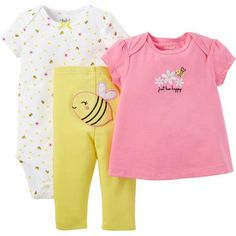 Child of Mine made by Carter's Newborn Baby Girl T Shirt, Bodysuit and Pant Outfit Set 3 Pieces - Walmart.com