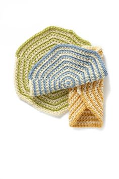 Hermosa Beach Washcloth Set. Size H hook and 4 skeins of Lion Brand's Cotton-Ease yarn.