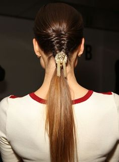Braided Prom Hairstyles - Tight Half Braided Ponytail With Embellishment