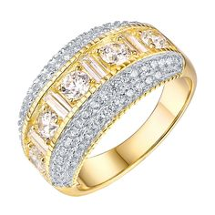 Womens Round Cut Ring Gold On 925 Silver Cubic Zircon Designer High End Bridal