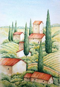 Watercolor Illustration, Watercolor Pattern, Watercolor Art, Watercolor Pictures, Watercolor Landscape Paintings, Tuscany Landscape, Color Pencil Art, Naive Art, Provence