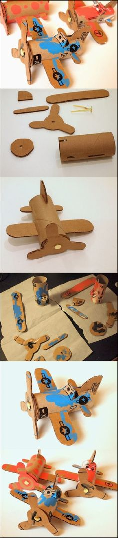 Wonderful DIY Toilet Roll Airplanes is part of Cardboard crafts Airplane - Toilet roll airplanes idea ! Most of children love cars, planes, trucks, trains erm basically anything that moves You can try to foster his love Kids Crafts, Toddler Crafts, Projects For Kids, Diy For Kids, Toilet Paper Roll Crafts, Cardboard Crafts, Paper Crafts, Cardboard Airplane, Cardboard Playhouse