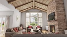 3-Bed New American House Plan with Vaulted Great Room - 69715AM | Architectural Designs - House Plans