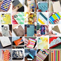 A bunch of diy phone case ideas from http://www.brit.co/diy-phone-cases/