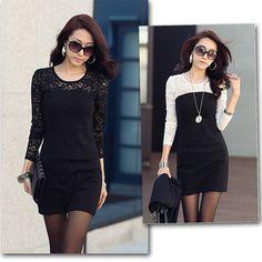 Fashion Womens Long Sleeve Crew Neck Cotton Lace Clubwear Short Mini Dress 157 | eBay