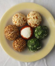 Goat Cheese Balls -- serve them with bagel chips, toasted bagett slices or shape smaller balls and toss them in salads