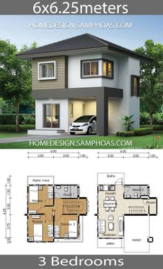 Small House Plan with 3 bedrooms – Home Ideassearch Kleines Haus Plan mit 3 Schlafzimmern – Home Ideassearch House Plans Desgin Ideas Samphoas Small House Layout, Modern Small House Design, Small House Exteriors, House Layouts, Two Story House Design, 2 Storey House Design, Bungalow House Design, Small Bungalow, House Plan Two Story
