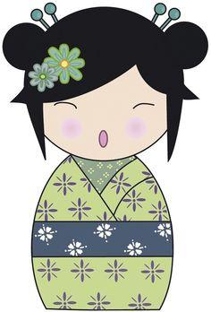 sticker poupée japonaise vert- 40 cm : Décoration pour enfants par alexiableu