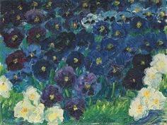 Emil Nolde Painted in 1908 and acquired by Hans Fehr in 1910, Blaue Stiefmütterchen (Violas) is one of several early flower paintings made by Nolde in which, working within the legacy of Vincent Van Gogh, the artist deliberately sought to echo and mimic the procreative colour and bloom of nature through the texture, brushstroke and creativity of his own painting. More: http://panathinaeos.wordpress.com/2009/04/12/emil-nolde-part-iiflowers/