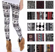 Sweater print leggings. With boots, big sweater and a scarf. Gonna have to get some!