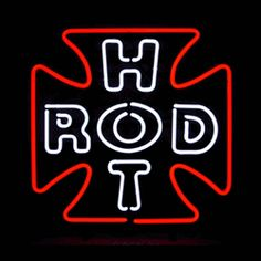 "HOT ROD CROSS NEON SIGN-NN5HOTRX  20"" wide, 20""high, 4"" deep  Add a warm glow to your garage with our Hot Rod Cross Neon Sign, featuring multi-colored, hand blown tubing supported on a black, finished metal grid. The Hot Rod Cross Neon Sign can be displayed flat on a wall or in a window or alternately be placed upon a shelf."