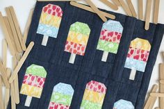 Create a Popsicle Party quilt block with this free pattern! Quilt Block Patterns, Pattern Blocks, Quilt Blocks, Puzzle Quilt, Michael Miller, Mini Quilts, Baby Quilts, Children's Quilts, Quilting Projects