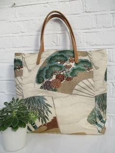 Large Tote bag made from vintage silk kimono and obi by Jasuin Kimono Fabric, Silk Kimono, Kimono Style, Boho Bags, String Bag, Types Of Bag, Vintage Cotton, Large Tote, Handmade Bags