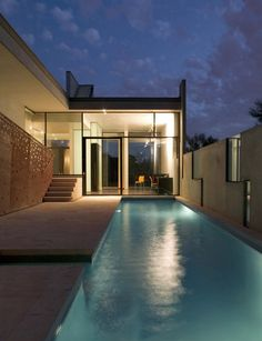 Planer House in   Arizona, United States by Steven Holl Architects. Perforated Steel Panels. Water Feature / Pool
