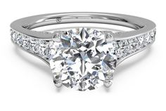 Tapered Pavé Diamond Band Engagement Ring - in 14kt White Gold (0.48 CTW)…