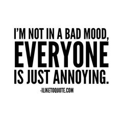 I'm not in a bad mood, everyone is just annoying. I'm not in a bad mood, everyone is just annoying. Sassy Quotes, Now Quotes, Sarcastic Quotes, True Quotes, Best Quotes, Funny Quotes, Qoutes, Dream Quotes, Humor Quotes