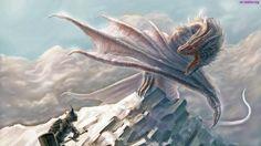 Góra, Śnieg, Rycerz, Niebo, Biały, Zima, Smok, Fantasty