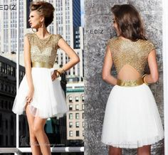 Wholesale Cocktail Dresses - Buy Fashion Sexy 2014 Cocktail Dresses With Sashes Short Mini Night Clubwear Gold White Tulle Beaded Backless Party Dress Prom Gowns, $104.0 | DHgate