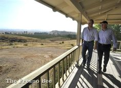 Brent McCaffrey, left, and father, Robert McCaffrey, right, at the ranch office of their Tesoro Viejo development in Madera County. JOHN WALKER — THE FRESNO BEE