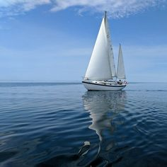 sailing our ketch on a very calm day. there was just enough wind Cerulean, Sailboat, Sailing Ships, Boats, Digital Art, Calm, Paintings, Sky, Classic