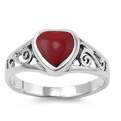 925 Sterling Silver Infinity Swirl Heart Red Simulated Agate Stone Ring 8MM Size 5-9 JewelryBadger-$20.00 http://www.amazon.com