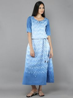 White Blue Cotton Dress