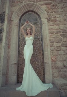 Sleek White Wedding Gown