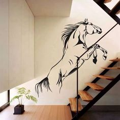 Running up stairs horse wall decal