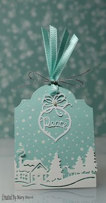 Mary's tag using Winter Cabin Border and Ornament Trio dies